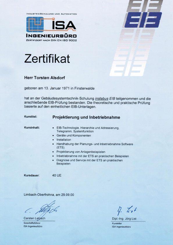 EIB Zertifikat