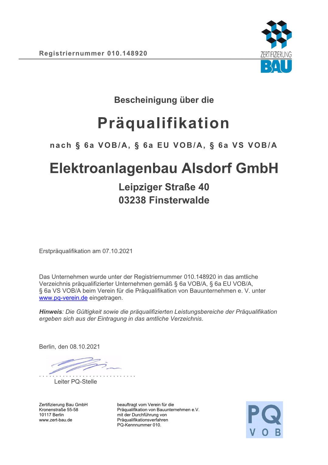 PQ-VOB Zertifikat
